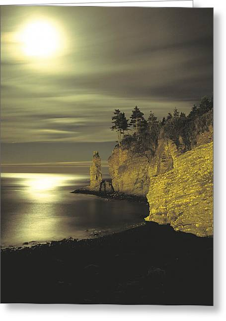 Monolith Greeting Cards - Monolith At Sunset, Anse-aux-gascons Greeting Card by Claude Bouchard