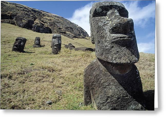 Moai Greeting Cards - Monolithic Statues At Rano Raraku Quarry, C.1000-1600 Photo Greeting Card by .