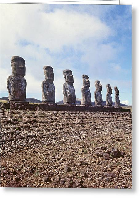 Moai Greeting Cards - Monolithic Statues On Ahu Akivi, C.1000-1600 Photo Greeting Card by .