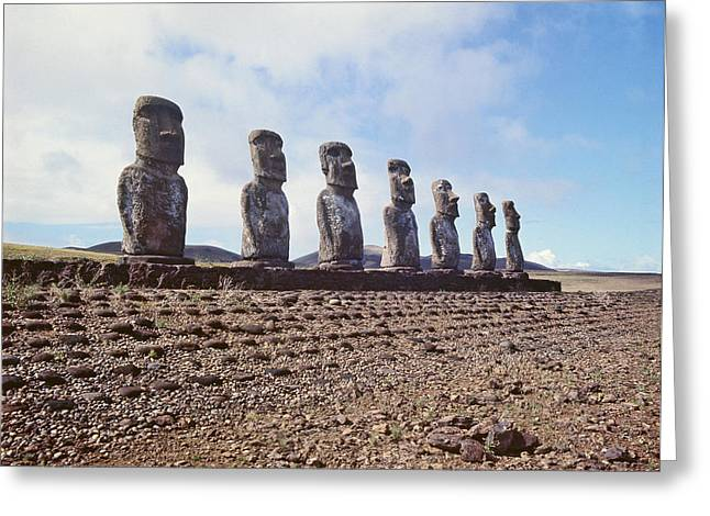 Monolithic Statues On Ahu Akivi Greeting Card by American School