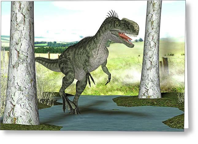 Monolophosaurus Dinosaur Greeting Card by Friedrich Saurer