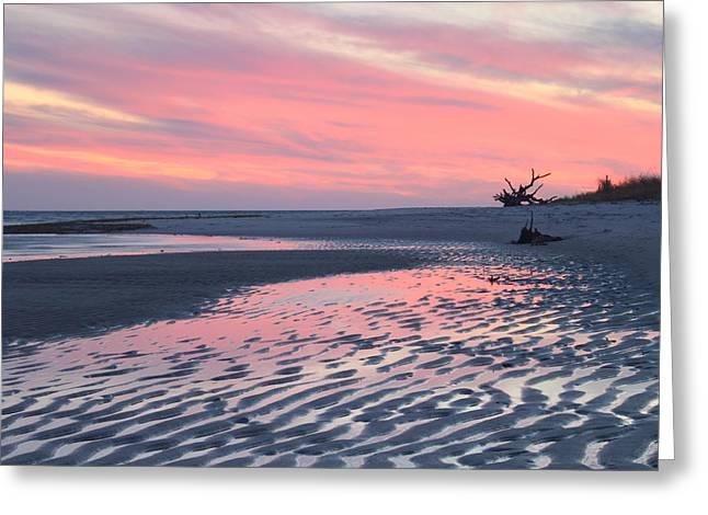 Chatham Greeting Cards - Monomoy National Wildlife Refuge Cape Cod Tidal Flats Sunset Greeting Card by John Burk