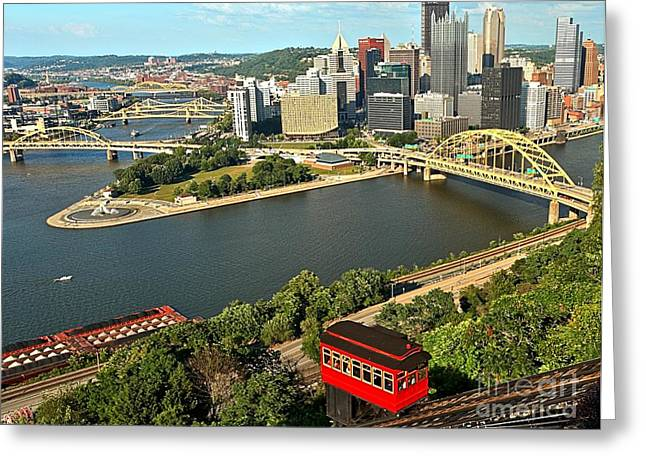 Duquesne Incline Greeting Cards - Duquesne Incline Car Greeting Card by Adam Jewell