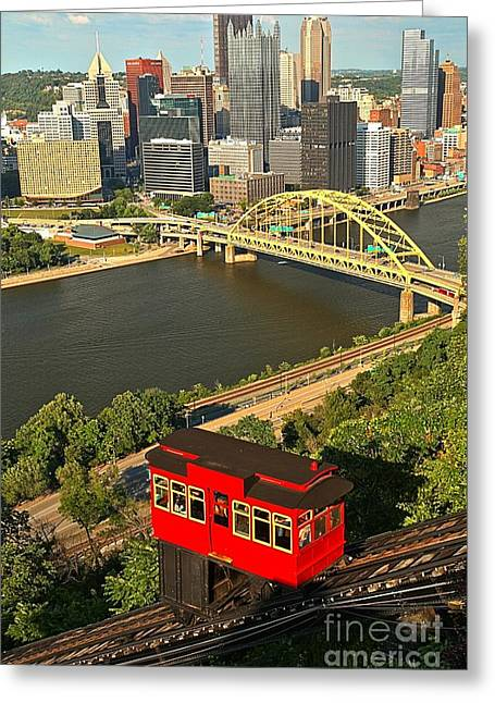 Duquesne Incline Portrait Greeting Card by Adam Jewell