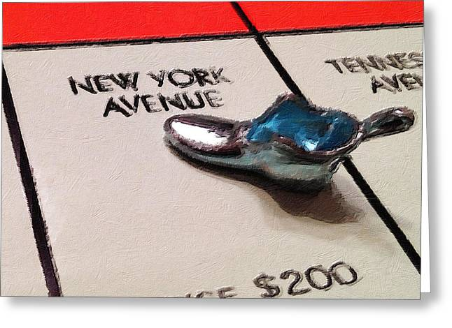 Wealth Mixed Media Greeting Cards - Monopoly Board Custom Painting New York Avenue Greeting Card by Tony Rubino