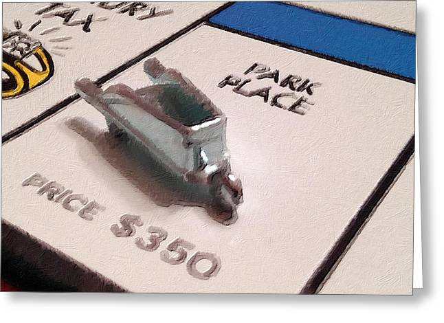 Wealth Mixed Media Greeting Cards - Monopoly Board Custom Painting Park Place Greeting Card by Tony Rubino
