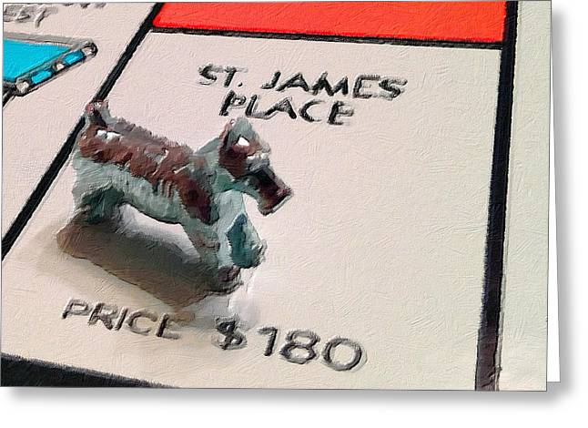 Wealth Mixed Media Greeting Cards - Monopoly Board Custom Painting St James Place Greeting Card by Tony Rubino