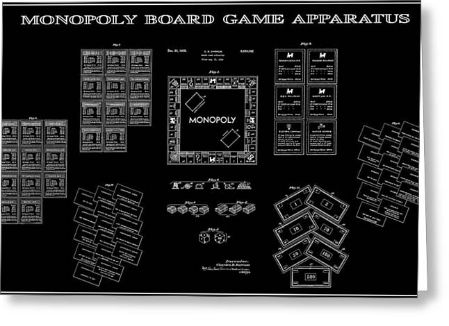 MONOPOLY BOARD GAME BLACK PATENT ART  1935 Greeting Card by Daniel Hagerman