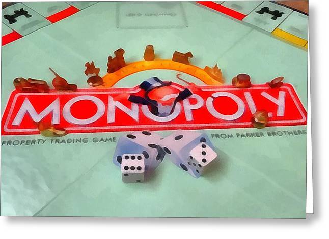 Monopoly Board Game Greeting Card by Dan Sproul