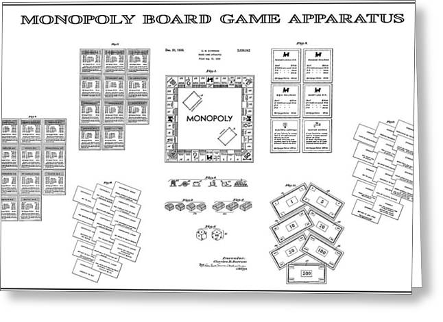 Boots Digital Greeting Cards - Monopoly Board Game Patent Art  1935 Greeting Card by Daniel Hagerman