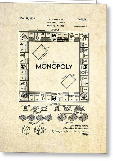 Monopoly Greeting Cards - Monopoly Board Game Patent Art Greeting Card by Gary Bodnar