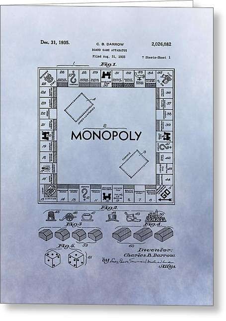 Best Sellers -  - Monopoly Greeting Cards - Monopoly Board Game Patent Greeting Card by Dan Sproul