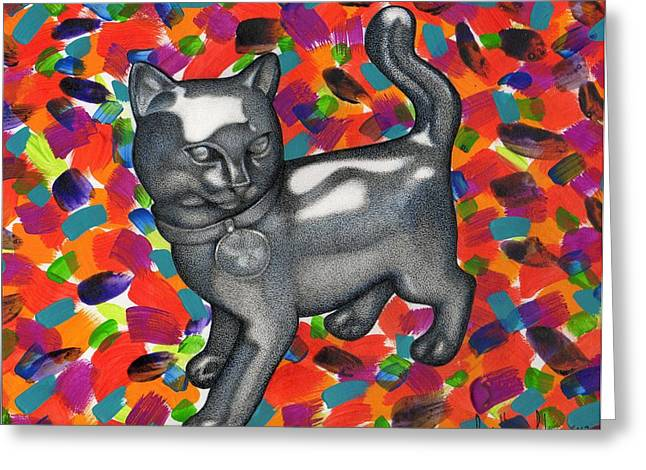 Monopoly Mixed Media Greeting Cards - Monopoly Cat Greeting Card by Daniel Levy policar