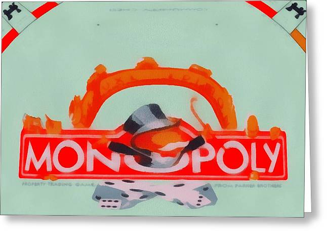 Bankrupt Greeting Cards - Monopoly Game Greeting Card by Dan Sproul