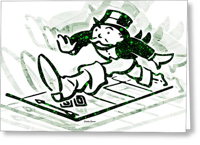 Bankrupt Greeting Cards - Monopoly Man - Go Greeting Card by Stephen Younts