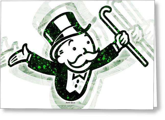 Bankrupt Greeting Cards - Monopoly Man Greeting Card by Stephen Younts