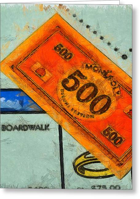 Win Paintings Greeting Cards - Monopoly Money Greeting Card by Dan Sproul