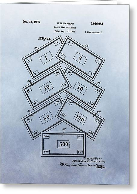 Bankruptcy Greeting Cards - Monopoly Money Patent Greeting Card by Dan Sproul