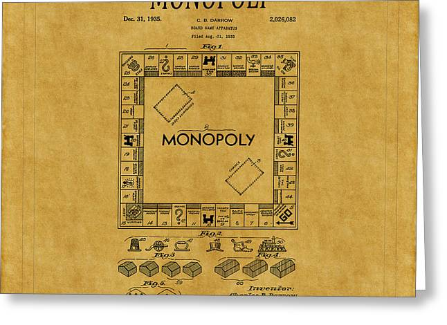 Monopoly Greeting Cards - Monopoly Patent 1 Greeting Card by Andrew Fare