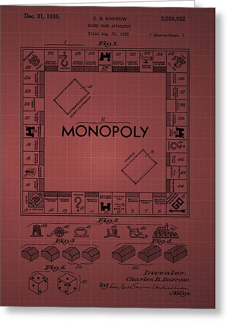 Monopoly Greeting Cards - Monopoly Patent 1935 - Burgundy Greeting Card by Chris Smith