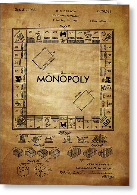 Monopoly Greeting Cards - Monopoly Patent 1935 Greeting Card by Chris Smith