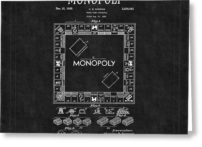 Board Game Greeting Cards - Monopoly Patent 2 Greeting Card by Andrew Fare