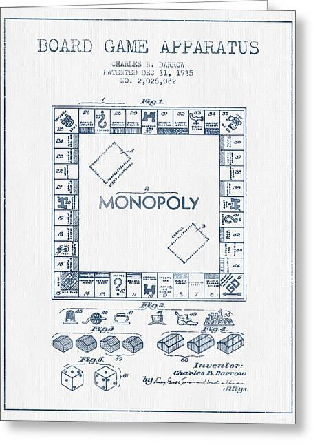 Monopoly Greeting Cards - Monopoly Patent from 1935 - Blue Ink Greeting Card by Aged Pixel