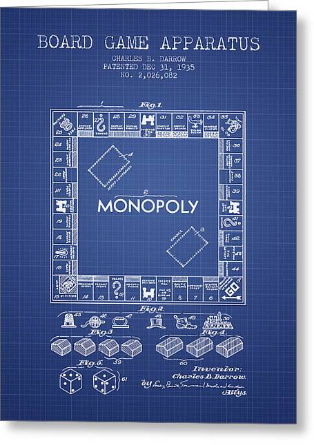 Best Sellers -  - Monopoly Greeting Cards - Monopoly Patent from 1935 - Blueprint Greeting Card by Aged Pixel