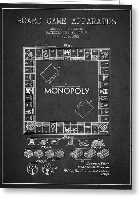 Board Games Greeting Cards - Monopoly Patent from 1935 - Dark Greeting Card by Aged Pixel