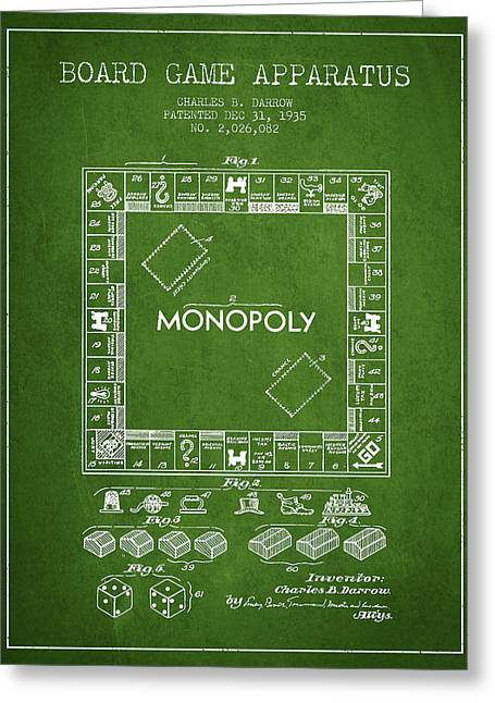 Monopoly Greeting Cards - Monopoly Patent from 1935 - Green Greeting Card by Aged Pixel