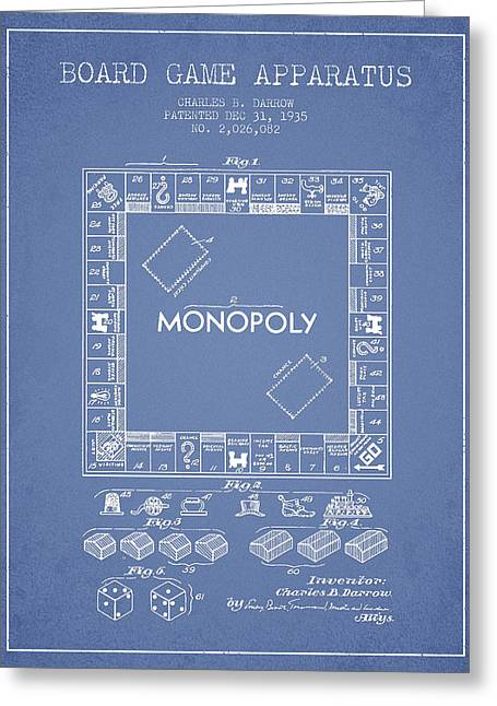 Monopoly Greeting Cards - Monopoly Patent from 1935 - Light Blue Greeting Card by Aged Pixel