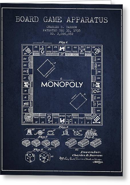 Monopoly Greeting Cards - Monopoly Patent from 1935 - Navy Blue Greeting Card by Aged Pixel