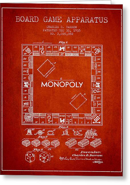 Monopoly Greeting Cards - Monopoly Patent from 1935 - Red Greeting Card by Aged Pixel