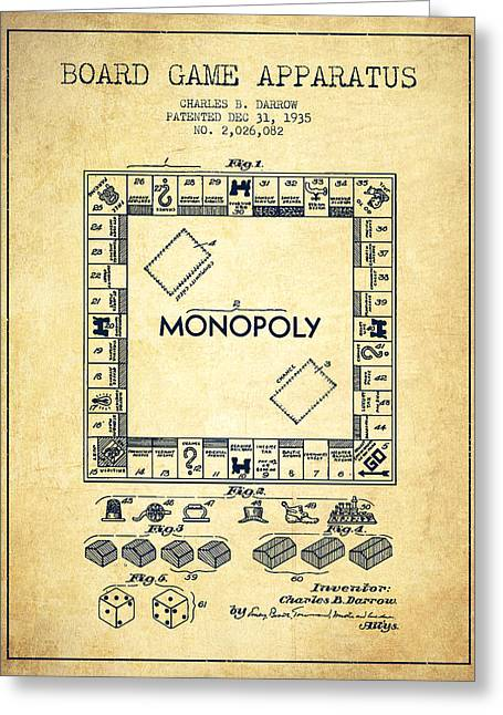 Monopoly Greeting Cards - Monopoly Patent from 1935 - Vintage Greeting Card by Aged Pixel