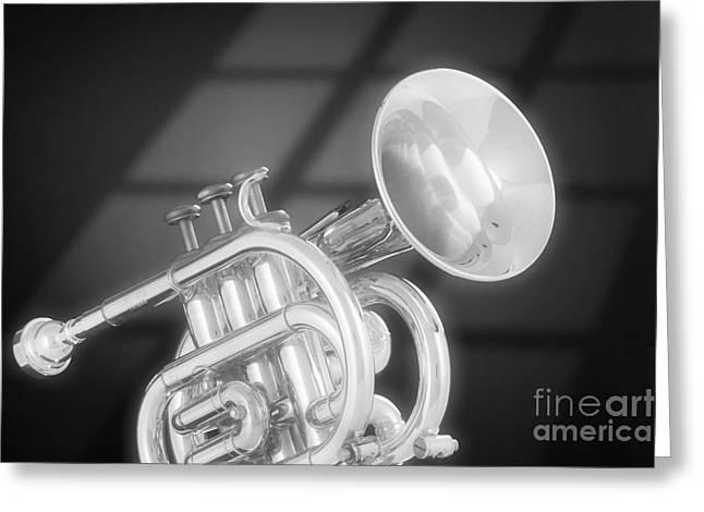 Matte Print Greeting Cards - Monotone Trumpet Greeting Card by M K  Miller