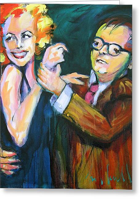 Capote Greeting Cards - Monroe and Capote Greeting Card by Les Leffingwell