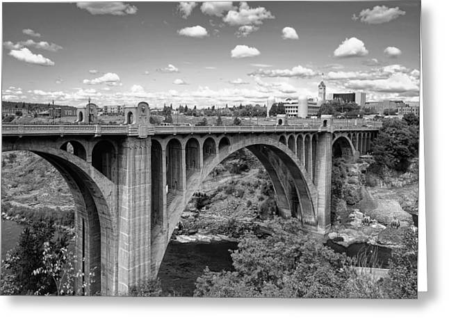 """spokane Falls"" Greeting Cards - Monroe St Bridge 6 B W Greeting Card by Daniel Hagerman"