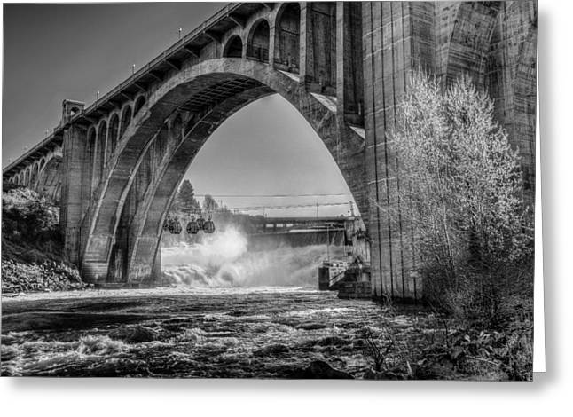 """spokane Falls"" Greeting Cards - Monroe St. Bridge and Falls Greeting Card by Derek Haller"