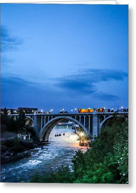 Monroe St Bridge At Sunset Greeting Card by Daniel Baumer
