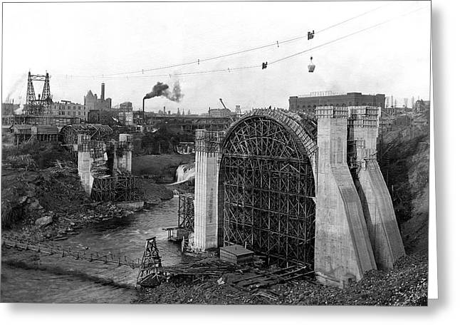 MONROE ST BRIDGE CONSTRUCTION 1910 Greeting Card by Daniel Hagerman