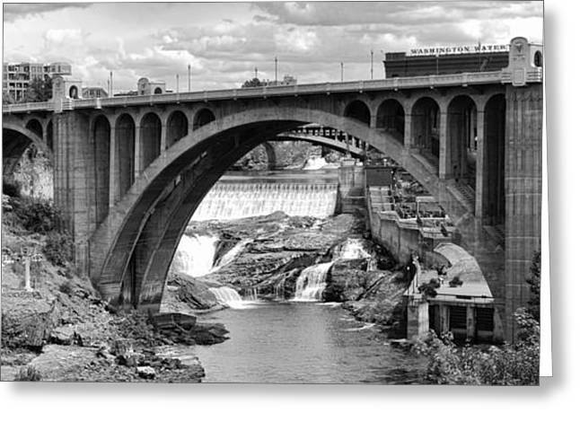 """spokane Falls"" Greeting Cards - MONROE ST BRIDGE of SPOKANE Greeting Card by Daniel Hagerman"
