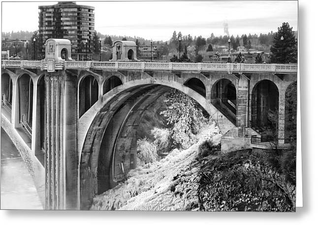 """spokane Washington"" Greeting Cards - Monroe Street Bridge Iced Over - Spokane Washington Greeting Card by Daniel Hagerman"
