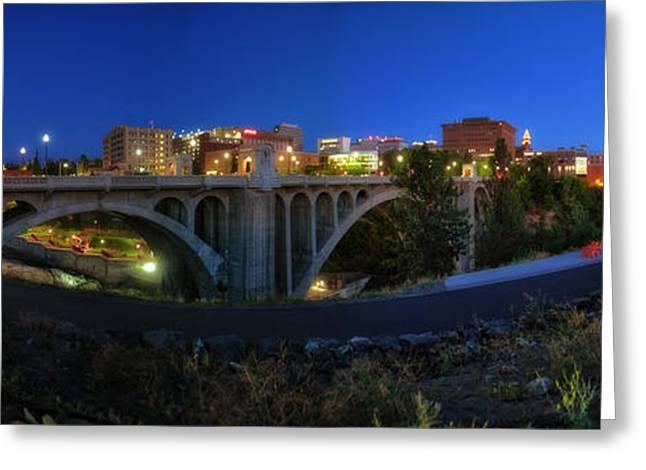 Spokane Greeting Cards - Monroe Street Bridge Panorama Greeting Card by Dan Quam