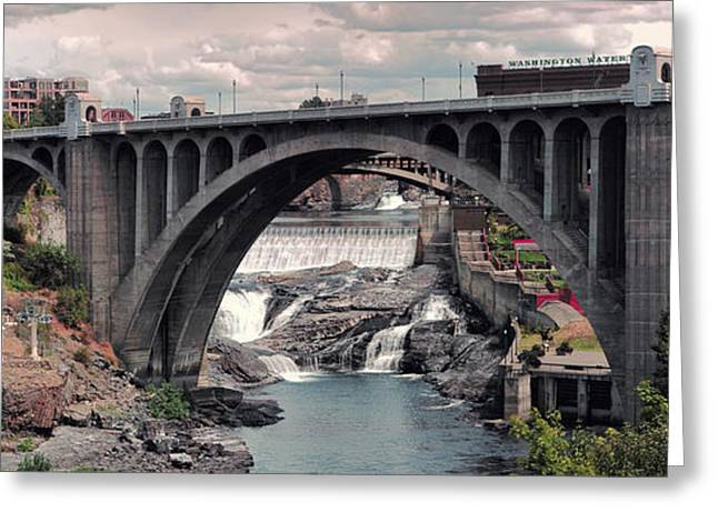 """spokane Falls"" Greeting Cards - Monroe Street Bridge Panorama - Spokane Greeting Card by Daniel Hagerman"