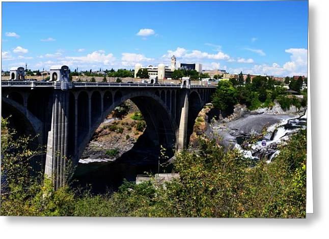 Monroe Street Bridge - Spokane Greeting Card by Michelle Calkins