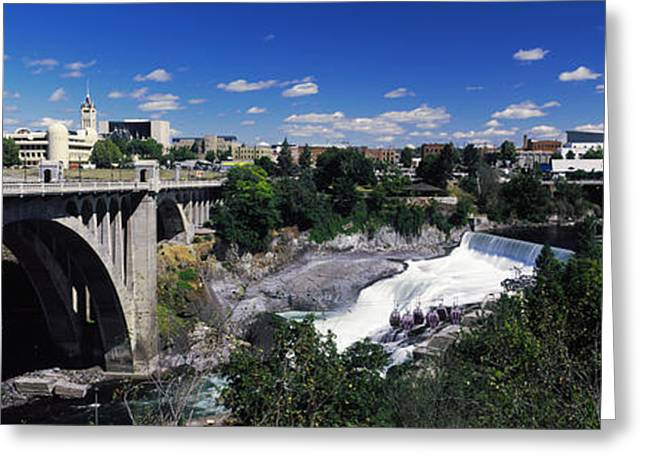 Monroe Street Bridge With City Greeting Card by Panoramic Images