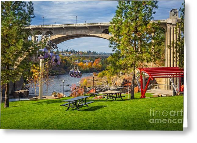 Spokane Greeting Cards - Monroe Street Dam Greeting Card by Inge Johnsson