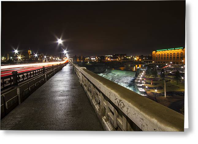 Monroe Street View - Spokane Greeting Card by Mark Kiver