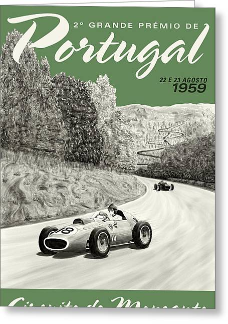 Rally Greeting Cards - Monsanto Portugal Grand Prix 1959 Greeting Card by Nomad Art And  Design