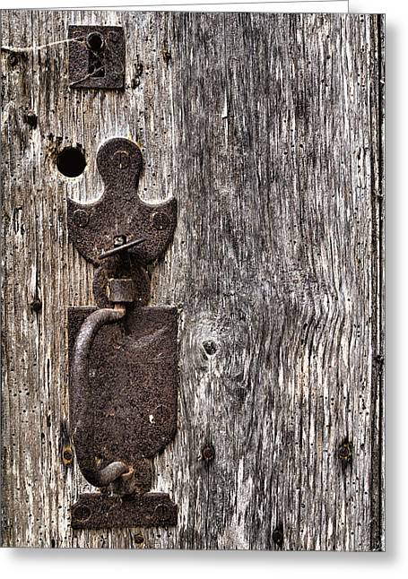 Peepholes Greeting Cards - Monsieur Door Lock Greeting Card by Nomad Art And  Design